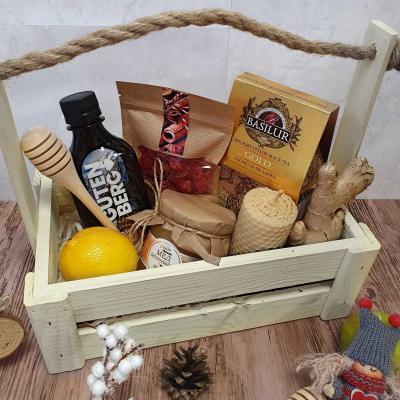 Подарочный набор чая с бальзамом в деревянном ящике