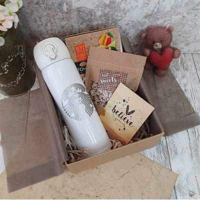 Подарочный набор с термокружкой Starbucks, шоколадом и открыткой